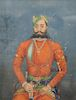 Seated Portrait,  gouache, possibly Mughal India,  Emperor or Prince,  ruler wearing bejeweled turban and jewelry, holding a sword, ...