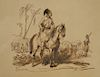 Emile Jean Horace Vernet (1789-1863),  pen and ink and wash on paper,  Orientalist Boy on Horse Amongst Soldiers Cavalier,  signed w...