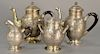 Four piece French silver tea and coffee set ,  having ribbed body with three dimensional wreaths and bust touch mark on base to incl...