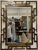 Philip and Kelvin LaVerne mirror,  rectangular patinated bronze framed beveled glass mirror, etched lower right corner on front: Phi...
