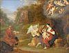 Daniel Vertangen (1598-1684),  oil on oak panel,  Family in Landscape, Flight into Egypt,  signed lower left: D. Vertangen,  old lab...