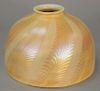 Tiffany lamp shade, feather design, signed L.C.T. Favrile.  height 4 5/8 inches, opening 2 1/4 inches, diameter 7 inches
