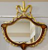 """Fineberg custom mirror, shield form with large gilt plume and inlaid panels and urn, made by Fineberg, Hartford, CT.  37"""" x 34"""""""