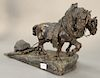 Friedrich Gornik (1877-1943),  bronze,  Horse Pulling,  marked on base: F. Gornik 1901,  height 13 1/2 inches, length 25 inches