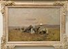 Alfred Von Wierusz-Kowalski (1849-1915),  oil on canvas,  Orientalist Full Moon Camp with Camels,  signed lower right: A. Wierusz-Ko...