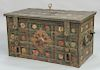 Wrought iron Armada chest strongbox,  having flower rosette painted exterior , opening to pierced screen interior lock