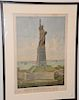 """Liberty Enlightening the World"",  lithograph The Colossal Statue by Bartholdi,  marked lower left: Copyright 1883 + published by Ro..."