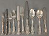 Sterling silver flatware set marked Black Starr & Frost including (12) dinner forks, (10) lunch forks, (12) soup spoons, (12) tables...