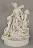 Large Capodimonte white glazed figural porcelain group having four nude women and two putti with wreaths of flowers and two doves, m...
