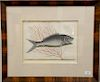 Mark Catesby (1679-1749),  pair of hand colored copper plate engravings of fish,  (1) Mormijrus T13;  (2) Turdus T9,  framed and mat...