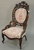 Victorian walnut pierced carved ladies chair in style of Belter.