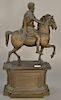 Classical style bronze of Roman Emperor on horseback,  both sides of plinth base with Latin inscription, plinth is hollow-cast (head...