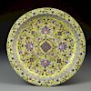 Chinese Yellow-Ground Famille Rose Floral Charger