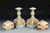 Pair Chinese Famille Rose Candle Holders and Jars