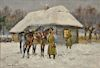 Jerzy Kossak (1886-1955), oil on board, Military Camp with Soldiers in Winter, signed and dated lower left: Jerzy Kossak 1940, p...