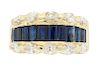 Estate 14K Diamond and Blue Sapphire Ring