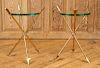 PAIR BRASS GLASS TOP SIDE STANDS ARROW FORM LEGS