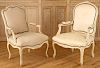 LOT 2 WHITE PANTED LOUIS XV ARM CHAIRS 1940