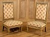 PAIR LOUIS XVI STYLE UPHOLSTERED LOW CHAIRS 1940