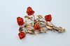 18k Gold, Red Coral, Diamond & Ruby Floral Pin