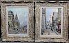Pair of Signed Paris Street Scenes, 20th C.