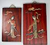 (2) Chinese Hardstone/Wood Figural Plaques