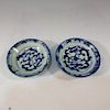 PAIR CHINESE ANTIQUE BLUE AND WHITE SAUCER - MING DYNASTY