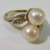 14K WHITE GOLD PEARLS RING