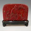 CHINESE CARVED CHICKEN BLOOD STONE