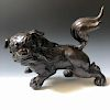 CHINESE ANTIQUE BRONZE FOO DOG