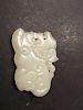 """OLD Chinese White Jade Dog shape Pendant, 2 1/4"""" x 1 1/2"""" W"""