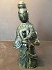 """ANTIQUE very old Chinese Green Spinach Jade Guanyin, Ming/Qing, 7 1/2"""" high"""