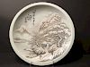 OLD Chinese Snow Scenery Plate, Republic. He Xuren signed