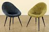 FRENCH EGG SHAPE UPHOLSTERED CHAIRS C. 1950