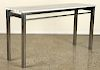STEEL CONSOLE TABLE BLUE STRIPED MARBLE TOP
