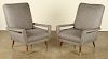 PAIR ITALIAN FLOATING ARM CLUB CHAIRS UPHOLSTERED