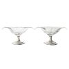 Pair Hawkes Etched Glass & Sterling Bon Bon Dishes