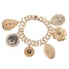 A Ladies Charm Bracelet with 6 Large Charms in 14K