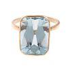 A Ladies Bezel Set Aquamarine Ring in 14K