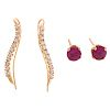 A Pair of CZ Earrings & Ruby Studs in 14K