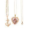 Three Ladies Necklaces & Pendants in 14K Gold