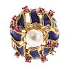 A Ladies Ruby, Pearl & Enamel Ring in 14K