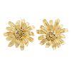 A Ladies Pair of Flower Earrings in 14K Gold