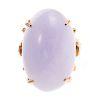A Ladies Lavender Jade Ring in 14K