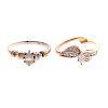 A Pair of Ladies Diamond Engagement Rings in 14K