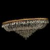 Lámpara de techo. Siglo XX. Estilo Imperio. Elaborada en metal dorado y cristal. Para 12 luces. A 2 niveles. Con forma oval.