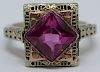 JEWELRY. 14kt Gold and 3.30ct Pink Gem Ring.