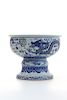 BLUE AND WHITE SEA DRAGON HIGH FOOT POT
