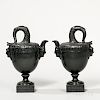 Pair of Marked Wedgwood & Bentley Basalt Fishtail Vases