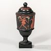 Encaustic Black Basalt Vase and Cover